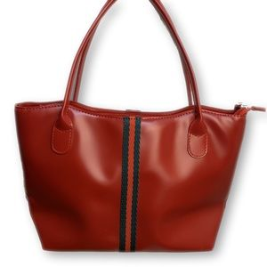Red Vegan Leather Handbag with Green Stripe